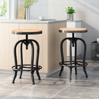 Link to Farmdale Industrial Reclaimed Firwood Adjustable Height Swivel Bar Stool (Set of 2) by Christopher Knight Home Similar Items in Dining Room & Bar Furniture