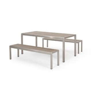Cape Coral Outdoor Modern Aluminum Picnic Dining Set with Dining Benches by Christopher Knight Home