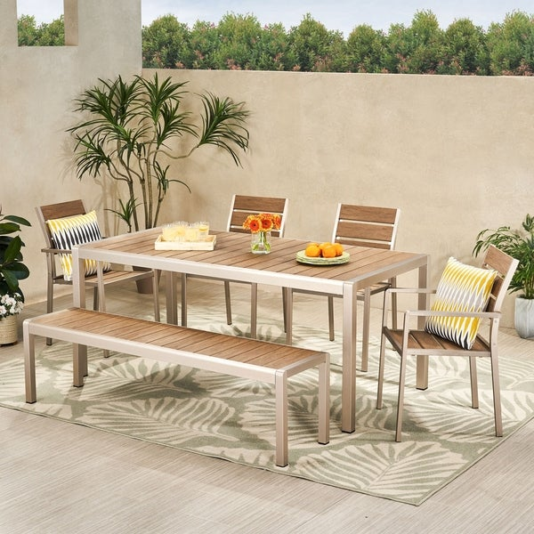Cape Coral Outdoor Modern 6 Seater Aluminum Dining Set with Dining Bench by Christopher Knight Home