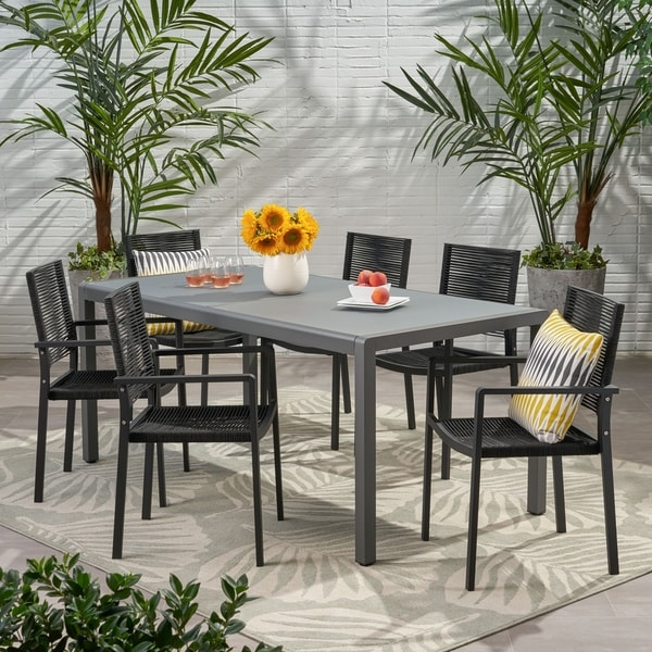 Gaviota Outdoor Modern 6 Seater Aluminum Dining Set with Tempered Glass Table Top by Christopher Knight Home