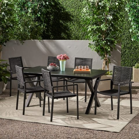 Taku Outdoor Modern 6 Seater Aluminum Dining Set with Expandable Table by Christopher Knight Home