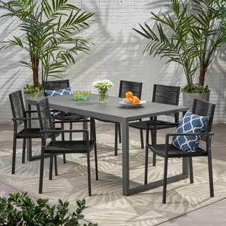 Blan 6 Seater Aluminum Dining Set by Christopher Knight Home