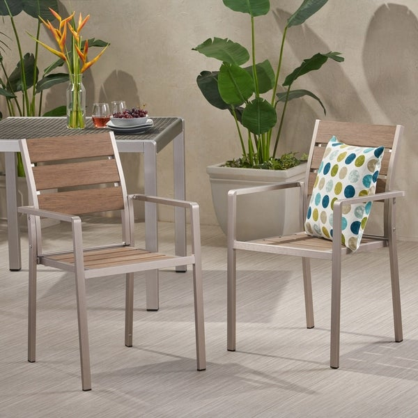 Cape Coral Outdoor Modern Aluminum Dining Chair with Faux Wood Seat (Set of 2) by Christopher Knight Home. Opens flyout.