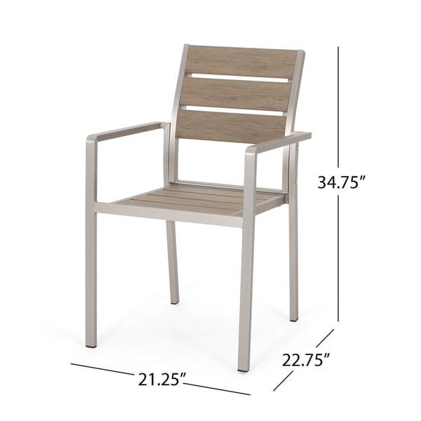 Cape Coral Outdoor Modern Aluminum Dining Chair with Faux Wood Seat (Set of 2) by Christopher Knight Home