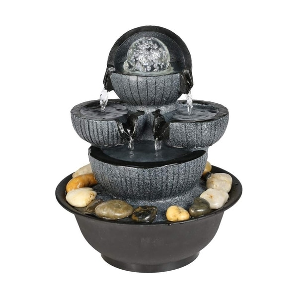 Tabletop Fountain with Rolling Ball Zen Water Fountain with LED Light