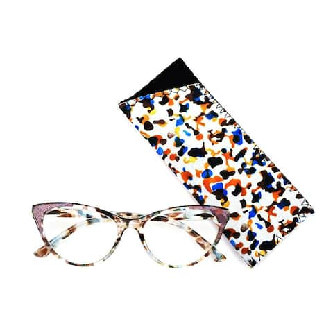 Multi Flower Cat Eye Reading Glasses R227 Green/Pink