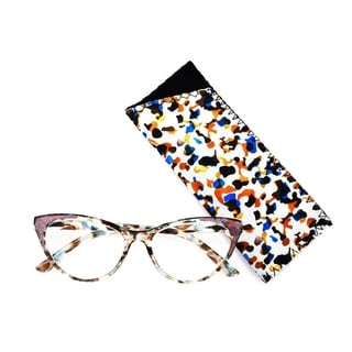 Link to Multi Flower Cat Eye Reading Glasses R227 Green/Pink Similar Items in Eyeglasses
