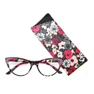 Link to Multi Flower Cat Eye Reading Glasses R227 Pink/Wine Similar Items in Eyeglasses