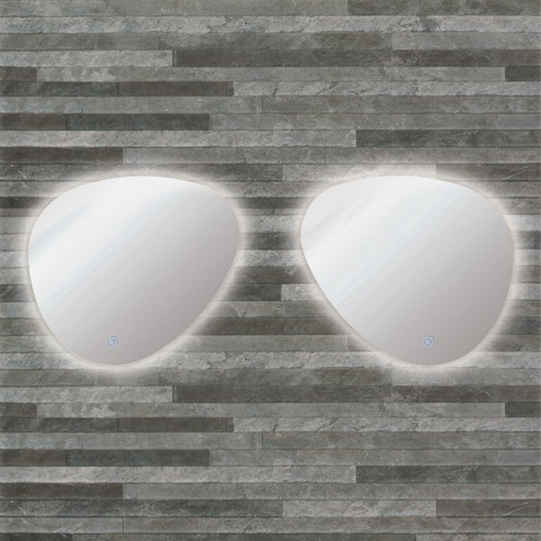 Transolid Harper LED-Backlit Left and Right Contemporary Mirrors Kit with Touch Sensor