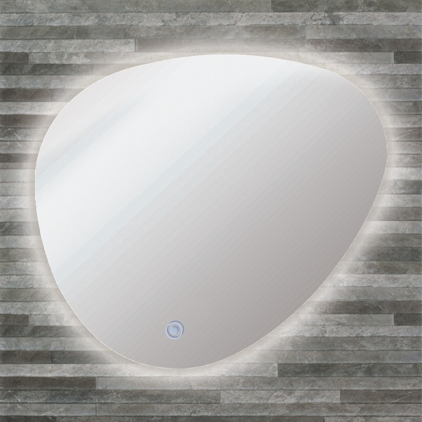 Transolid Harper 26in x 23in LED-Backlit Left Contemporary Mirror with Touch Sensor