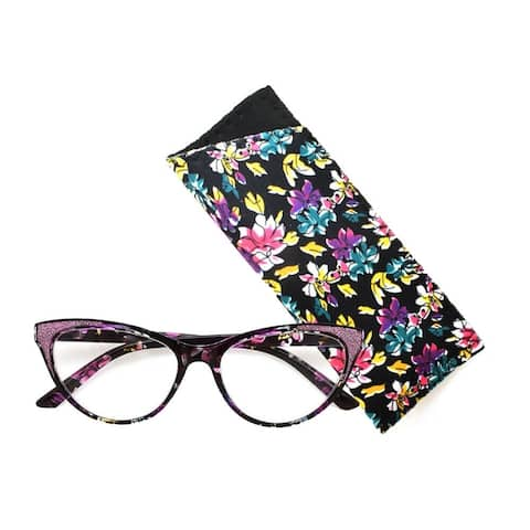 Multi Flower Cat Eye Reading Glasses R227 Black/Purple