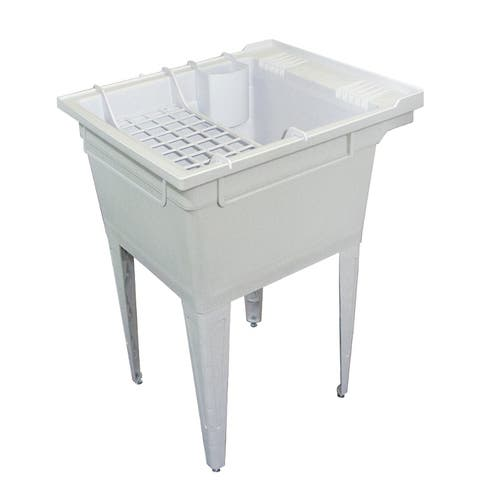 Transolid 22.375-in W x 26-in D x 34.75-in H Floor-Mounted Laundry Tub with Accessory Kit, in Grey