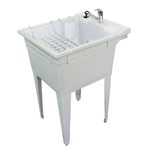 Transolid 22.375-in W x 26-in D x 34.75-in H Floor-Mounted Laundry Tub with T3521-PC Faucet and Accessory Kit, in Grey