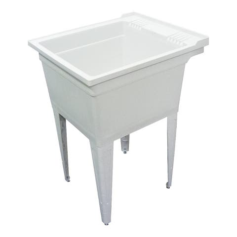 """Transolid 22.375-in W x 26-in D x 34.75-in H Floor-Mounted Laundry Tub, in Grey - 22.38"""" x 26"""" x 34.75"""""""