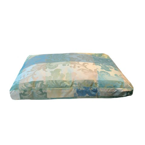 Westgate Blue and Green Woven Damask Plush Medium to Large Pet Bed