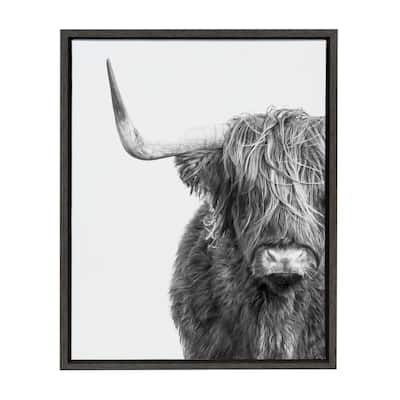 Shop Kate and Laurel Sylvie Highland Cow Framed Canvas by Amy Peterson from Overstock on Openhaus