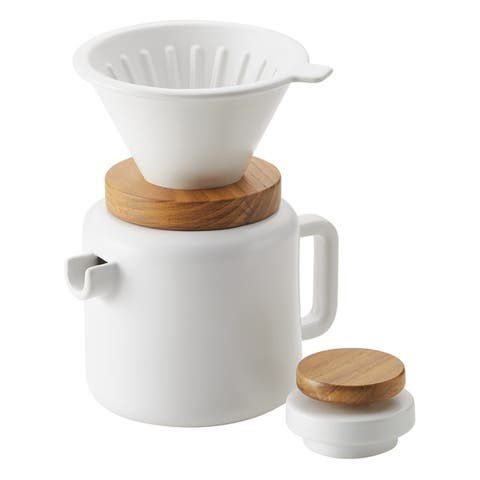 BonJour Ceramic Coffee and Tea 4-Cup Pour-Over Coffee Set, Matte White