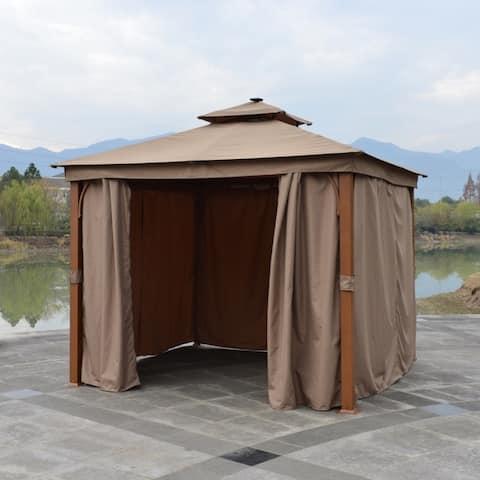 ALEKO Double Roof Aluminum Frame Gazebo 10 x 10 ft with Curtain Sand