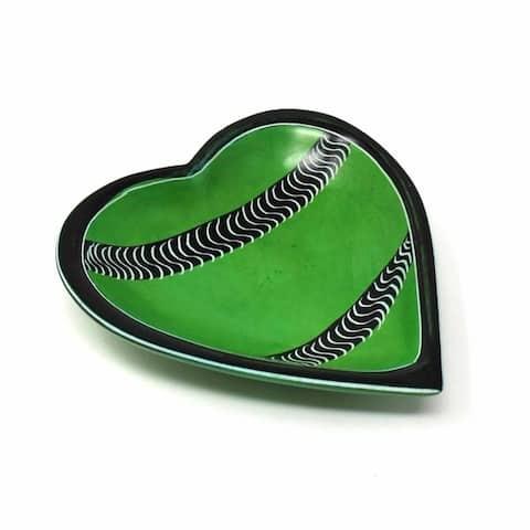 Handmade Soapstone 5-inch Heart Jewelry Dish