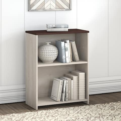 Bush Townhill 2 Shelf Bookcase in Washed Gray and Madison Cherry