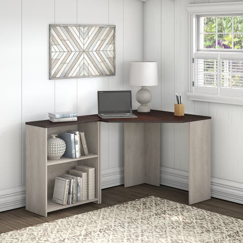Porch & Den Skyhar Washed Grey/ Cherry Corner Desk with Bookcase