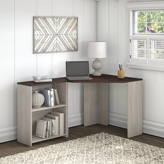 Porch & Den Skyhar Washed Grey/ Cherry Corner Desk with Bookcase