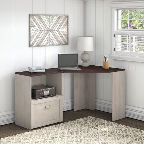Porch & Den Skyhar Washed Grey/ Cherry Corner Desk with File Cabinet by Bush Furniture