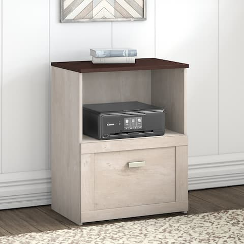 Bush Townhill Lateral File Cabinet in Washed Gray and Madison Cherry