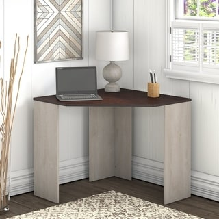 Porch & Den Skyhar Washed Grey/ Cherry Corner Desk