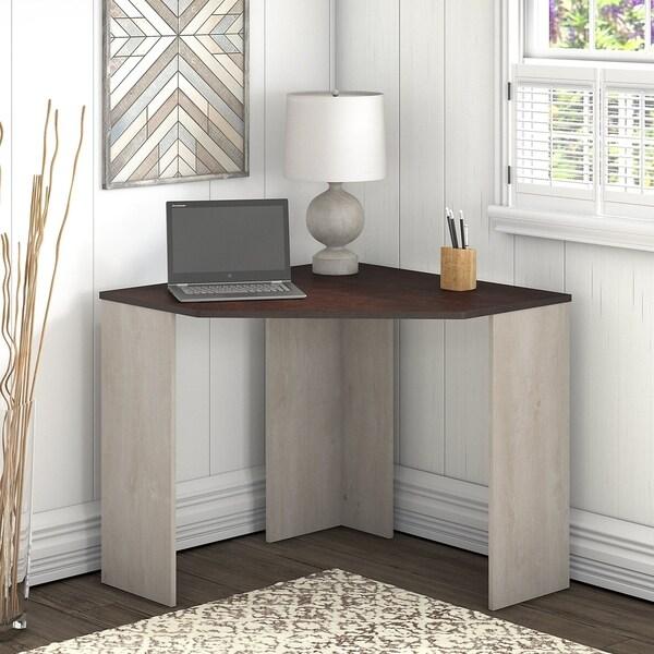 Shop Porch & Den Skyhar Washed Grey/ Cherry Corner Desk