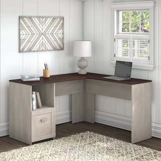 Link to Porch & Den Skyhar Washed Grey/ Cherry 54-inch L-shaped Desk Similar Items in Desks & Computer Tables