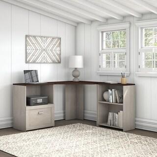 Bush Furniture Townhill Corner Desk with Bookcase and File Cabinet