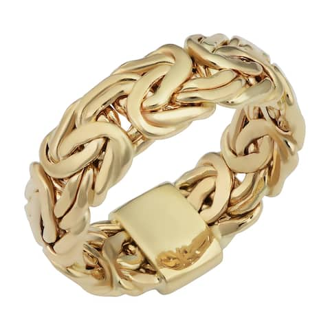 14k Yellow Gold 7.5 millimeter Byzantine Band Ring