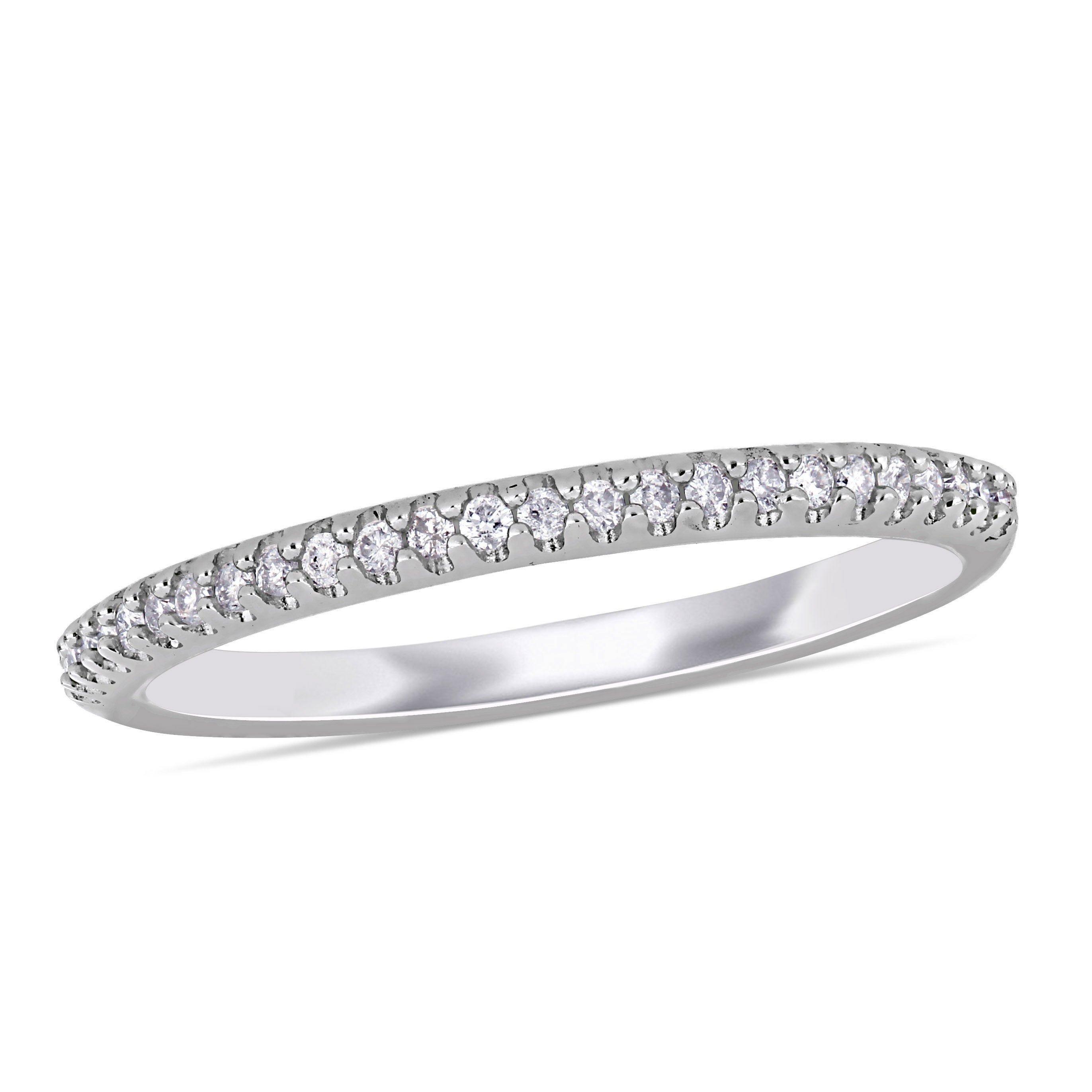 Diamond Wedding Band in Sterling Silver G-H,I2-I3 1//6 cttw, Size-6.25