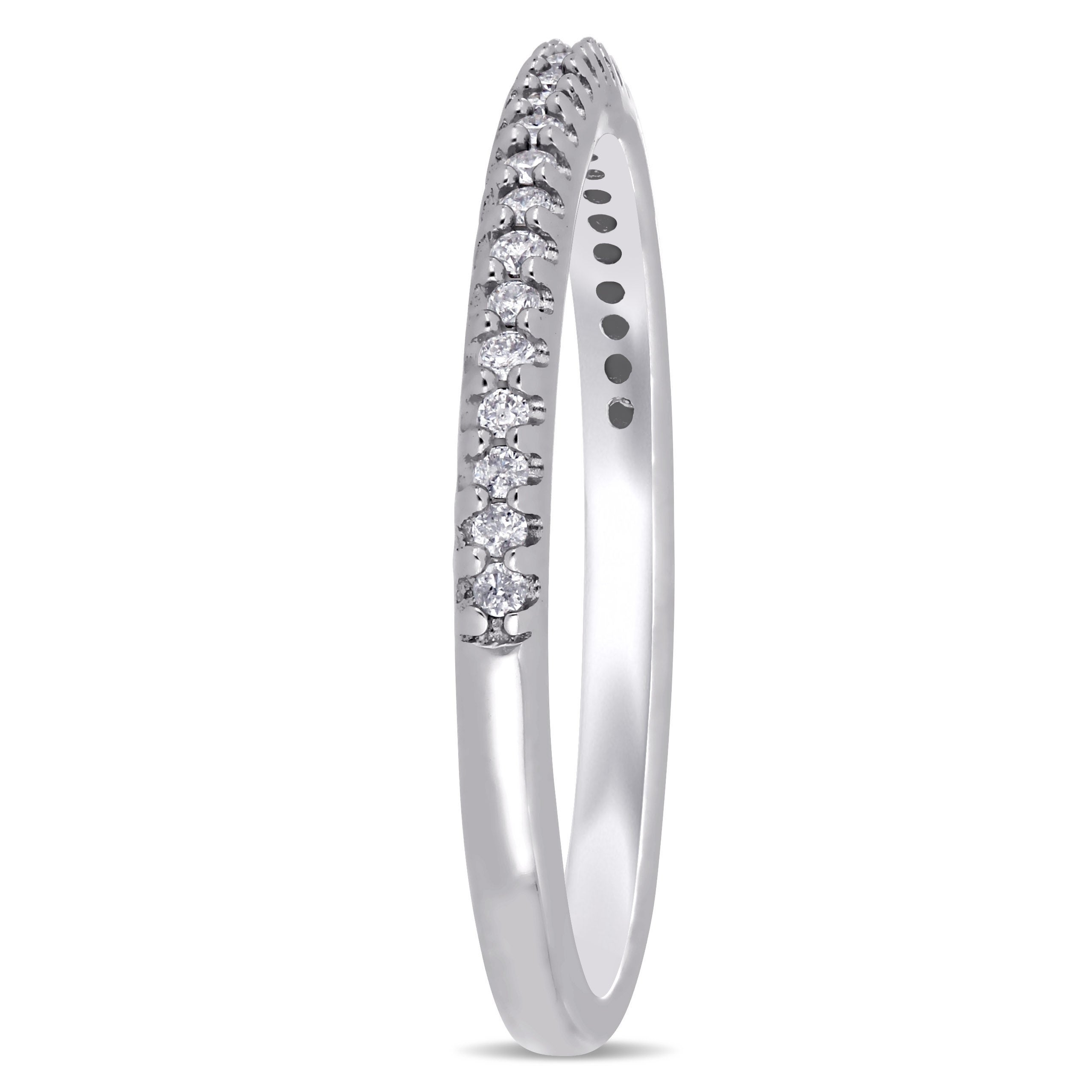 G-H,I2-I3 Diamond Wedding Band in 10K White Gold Size-11 1//8 cttw,