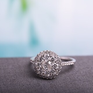 Miadora 10k White Gold 1ct TDW Diamond Composite Round Halo Engagement Ring