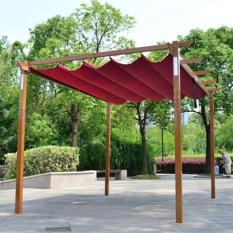 ALEKO Aluminum Outdoor Retractable Pergola 13 x 10 ft with Solar Powered LED Lamps Burgundy
