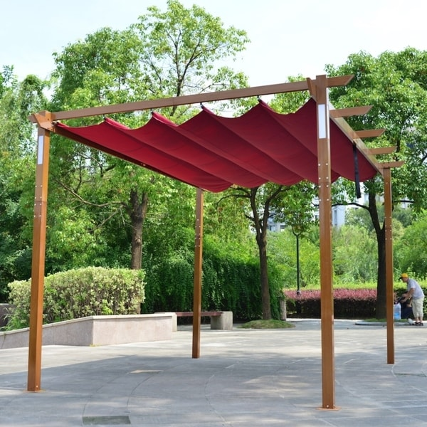 ALEKO Aluminum Outdoor Retractable Pergola 13 x 10 ft with Solar Powered LED Lamps Burgundy. Opens flyout.