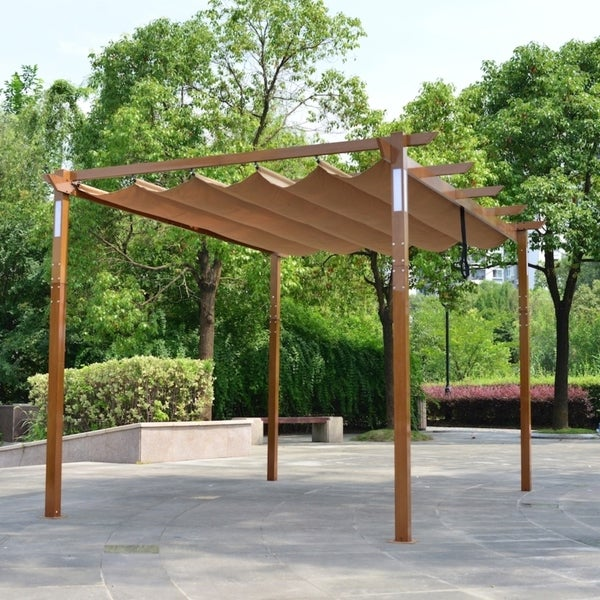 ALEKO Aluminum Outdoor Retractable Pergola 13 x 10 ft with Solar Powered LED Lamps Sand. Opens flyout.