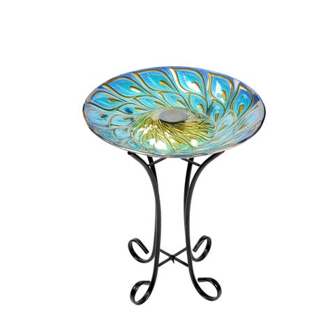 Solar Glass Peacock Feathers Bird Bath With Stand