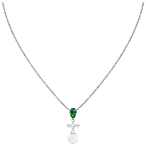 Swarovski Perfection Necklace - Green - Rhodium Plated - 5493103