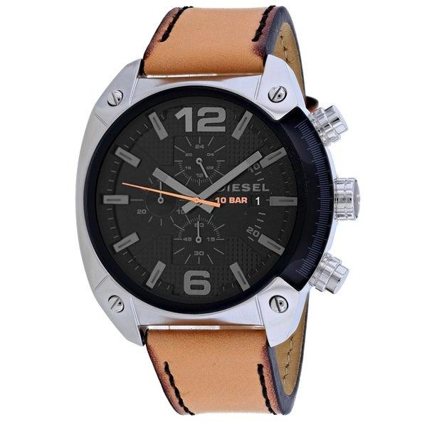 Diesel Men's DZ4503 'Overflow' Chronograph Brown Leather Watch. Opens flyout.