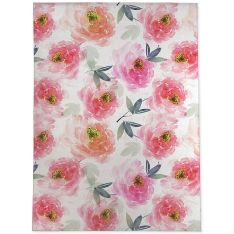 FLORAL LOVE PINK Area Rug By Jackii Greener