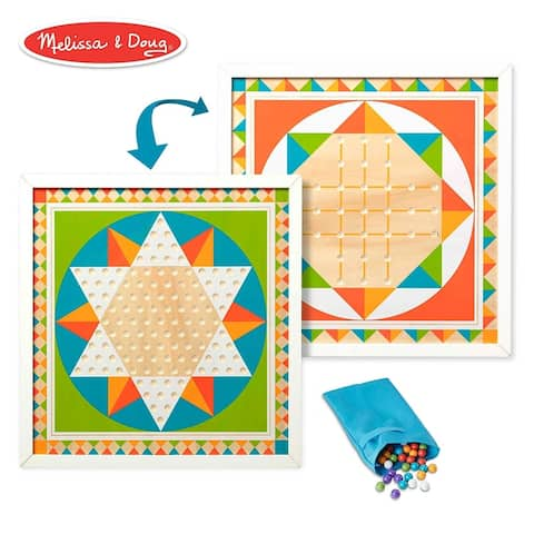Melissa & Doug Double-Sided Wooden Solitaire & Chinese Checkers