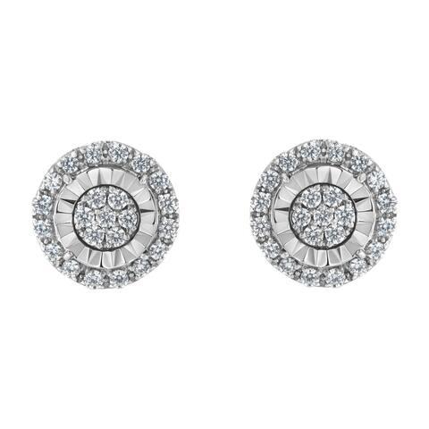 Sterling Silver 1ct TDW Diamond Cluster Earrings. (I-J,I2-I3)