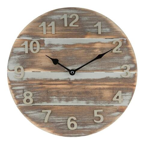 La Crosse Clock 404-3430W 12-Inch Sunwashed Wood Quartz Wall Clock