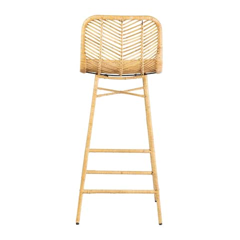 """East at Main's Paradiso Rattan Bar Stool with Wrapped Metal Legs, 30"""""""