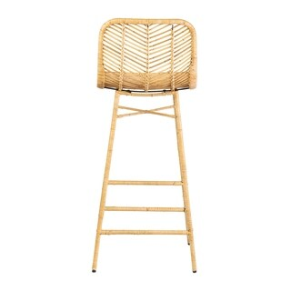 East at Main's Paradiso Rattan Bar Stool with Wrapped Metal Legs, 30""