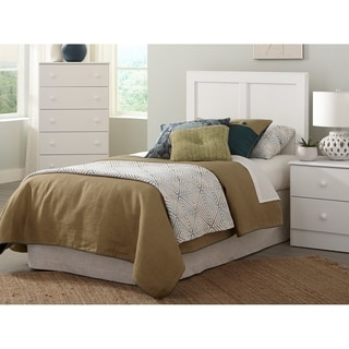 Three Piece White Bedroom set with Basic White Pulls including Twin Headboard, Five Drawer Chest, and Night Stand