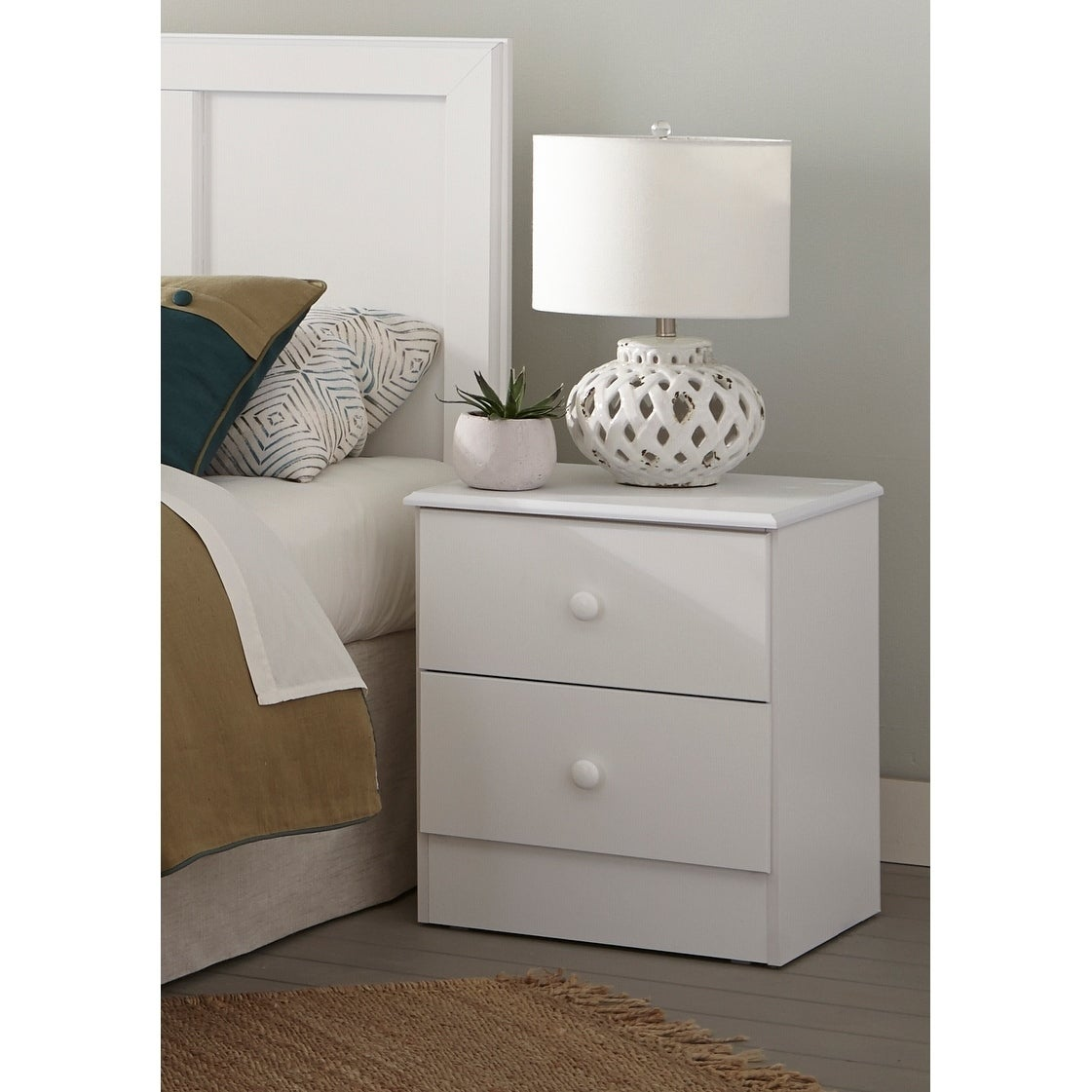 Three Piece White Bedroom Set With Basic White Pulls Including Twin Headboard Five Drawer Chest And Night Stand